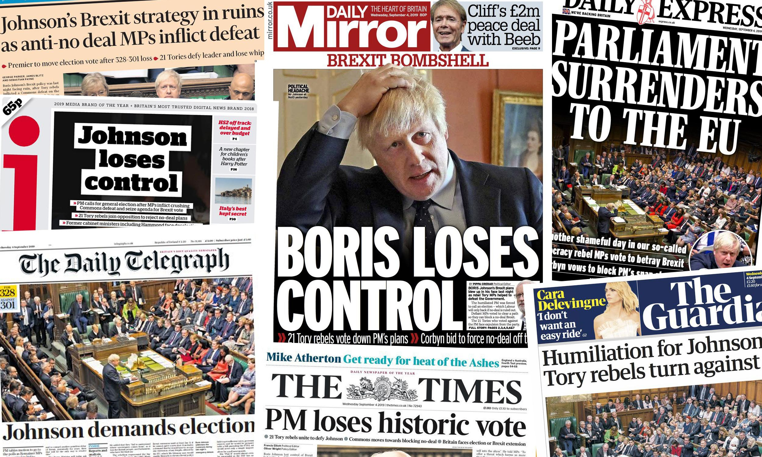 'Johnson loses control': how the papers covered the historic Commons defeat