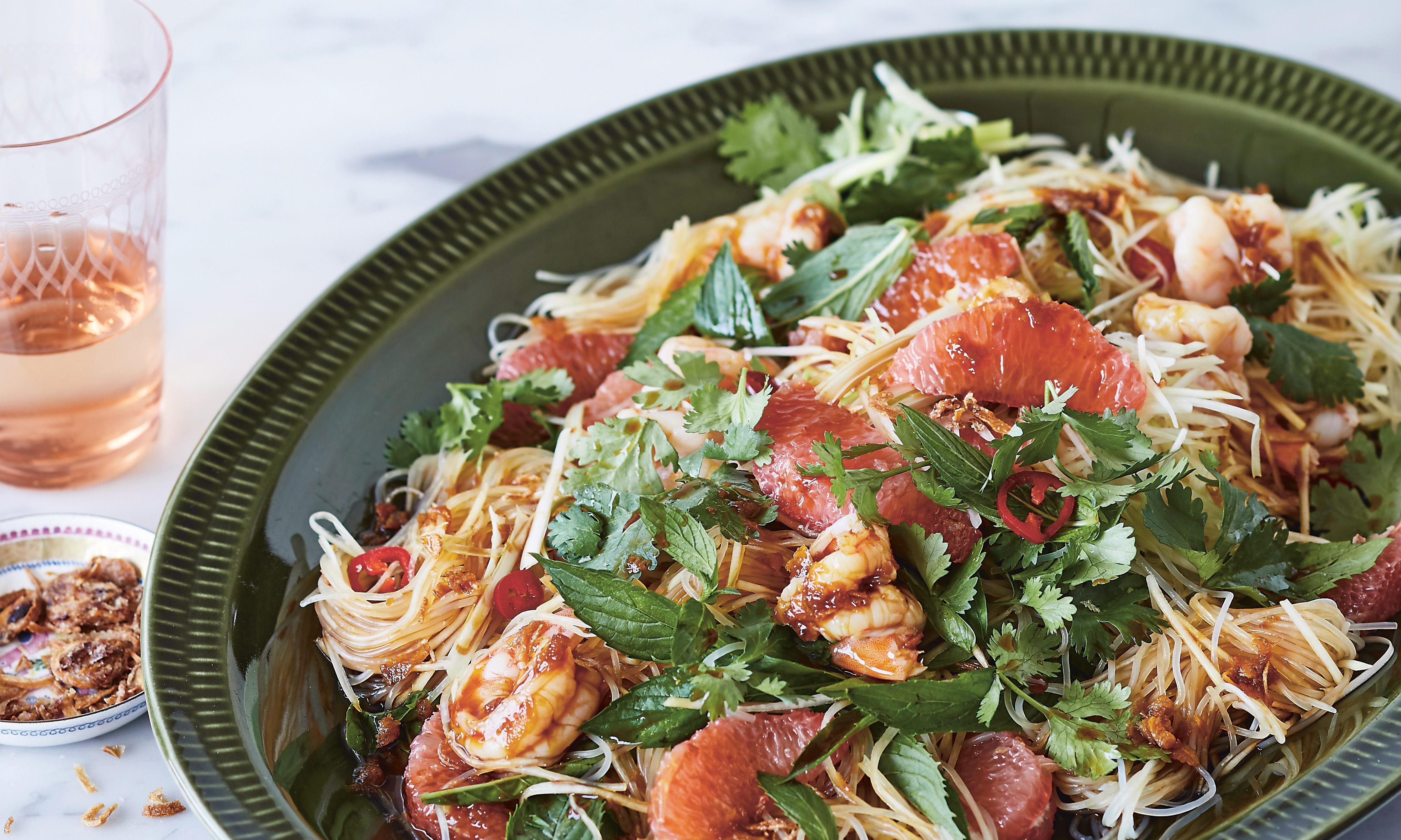 Annabel Crabb's glass noodle salad with prawns and pink grapefruit
