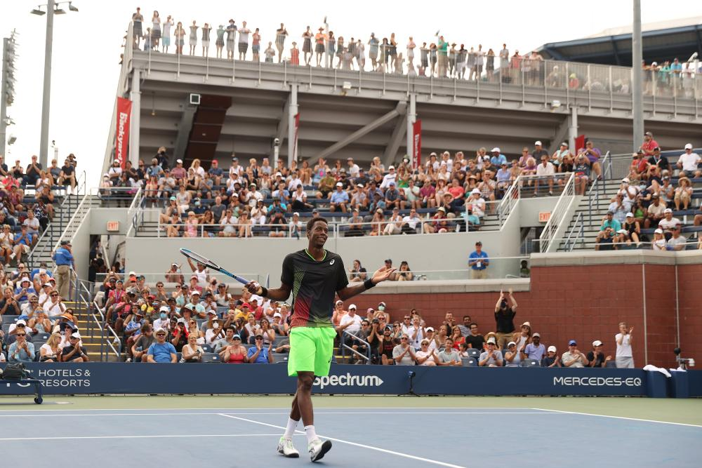 Gael Monfils celebrates a point during his win over Federico Coria.