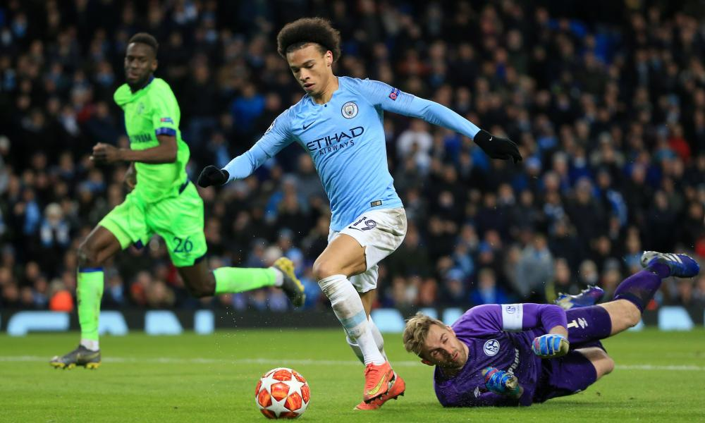 Leroy Sane of Manchester City takes the ball past Schalke keeper Ralf Faehrmann and slot the ball in the net but it's chalked off due to an offside decision courtesy of VAR.