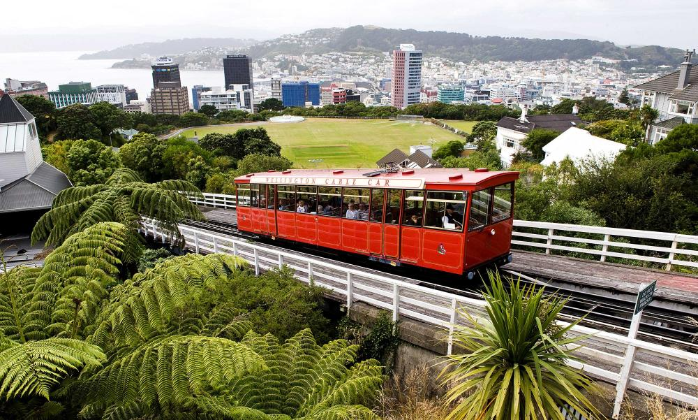 A cable car and the Wellington skyline from Kelburn lookout