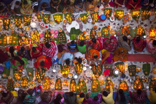 Hindus gather to celebrate the religious festival of Rakher Upabas