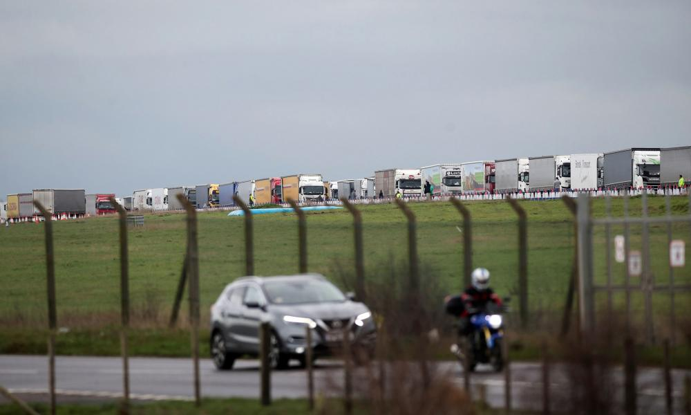 Lorries are parked at Manston International Airport