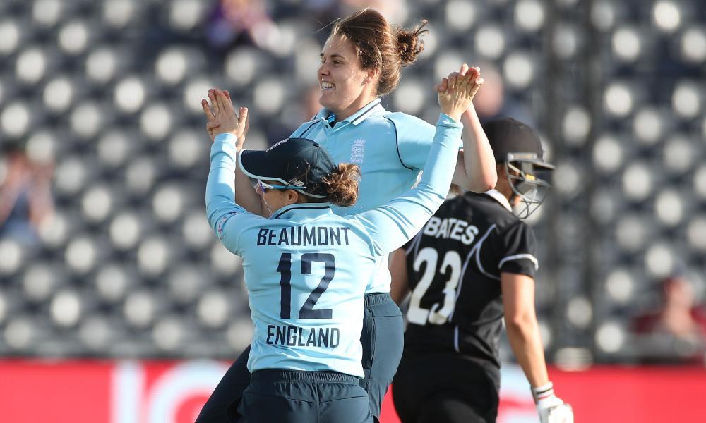 Nat Sciver of England celebrates taking the wicket of Suzie Bates of New Zealand.