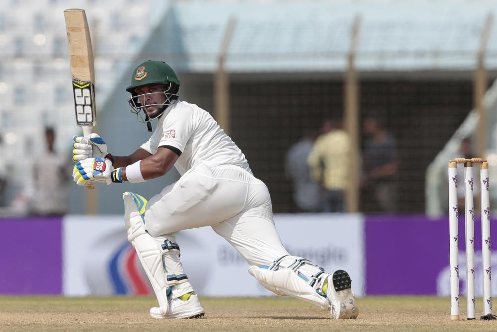 Bangladesh's Sabbir Rahman plays a shot during the first day of the second test cricket match against Australia in Chittagong.