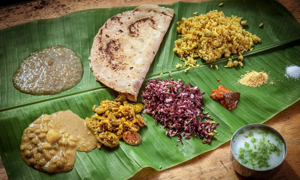 Thali served at Anima Madhya Bhavan, Mysuru, India.