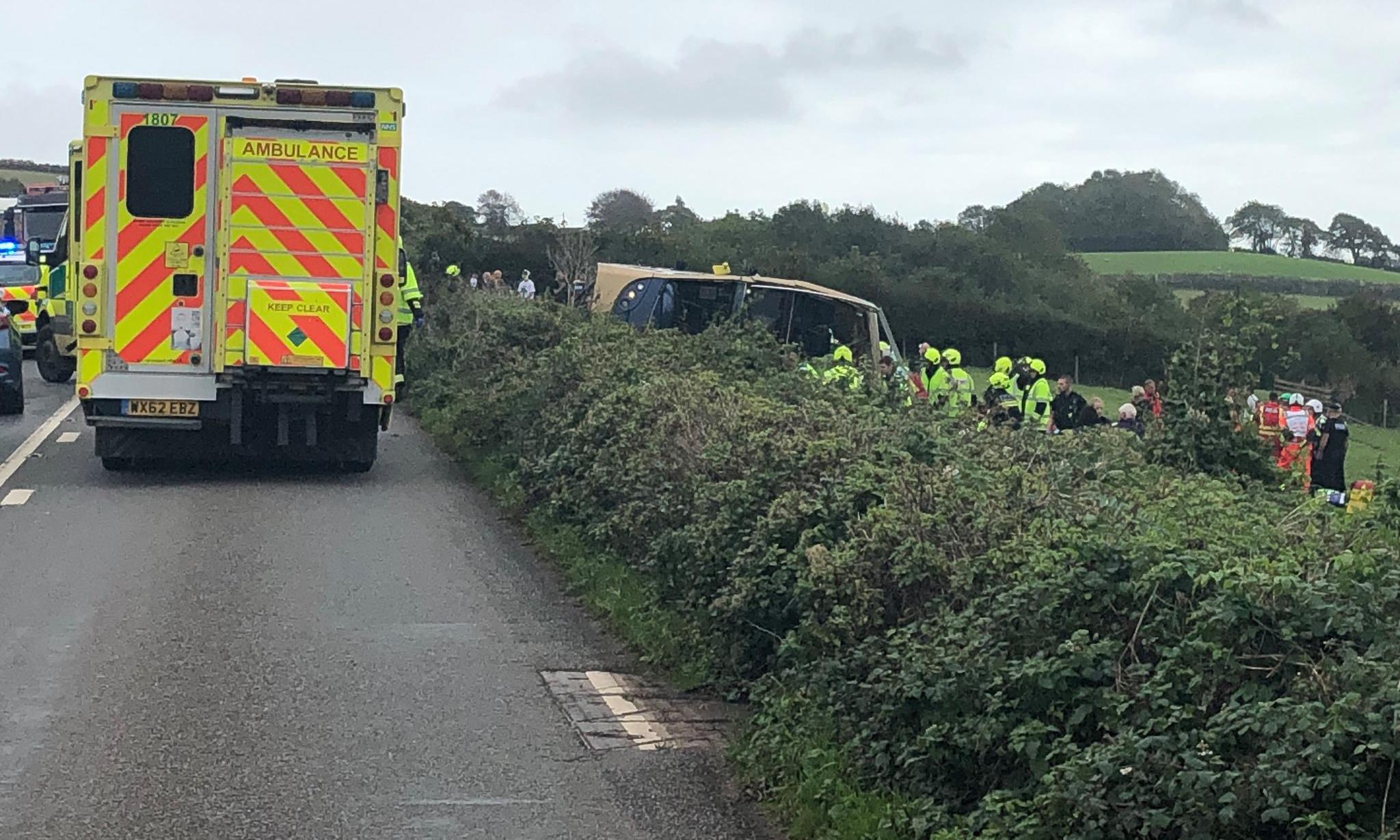 Multiple passengers injured in Devon bus crash