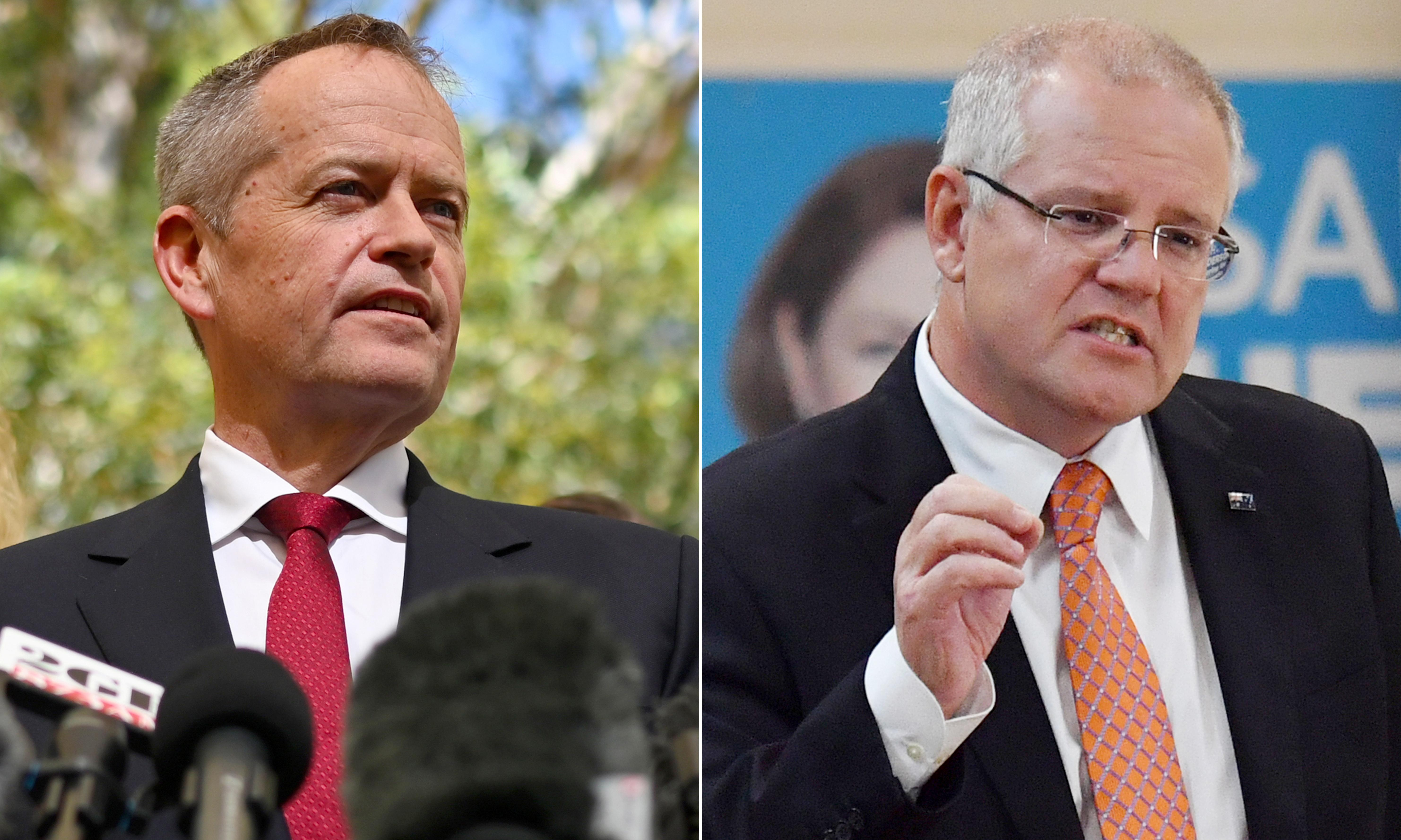 Morrison and Shorten duck questions about losing election in final TV interviews