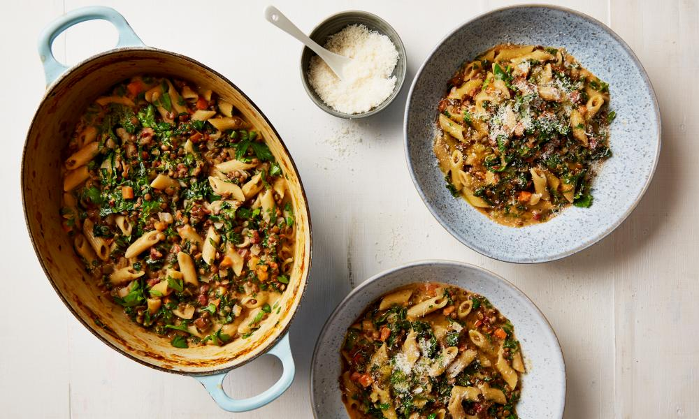 Thomasina Miers' one-pot penne with lentil, tomato and kale sauce: