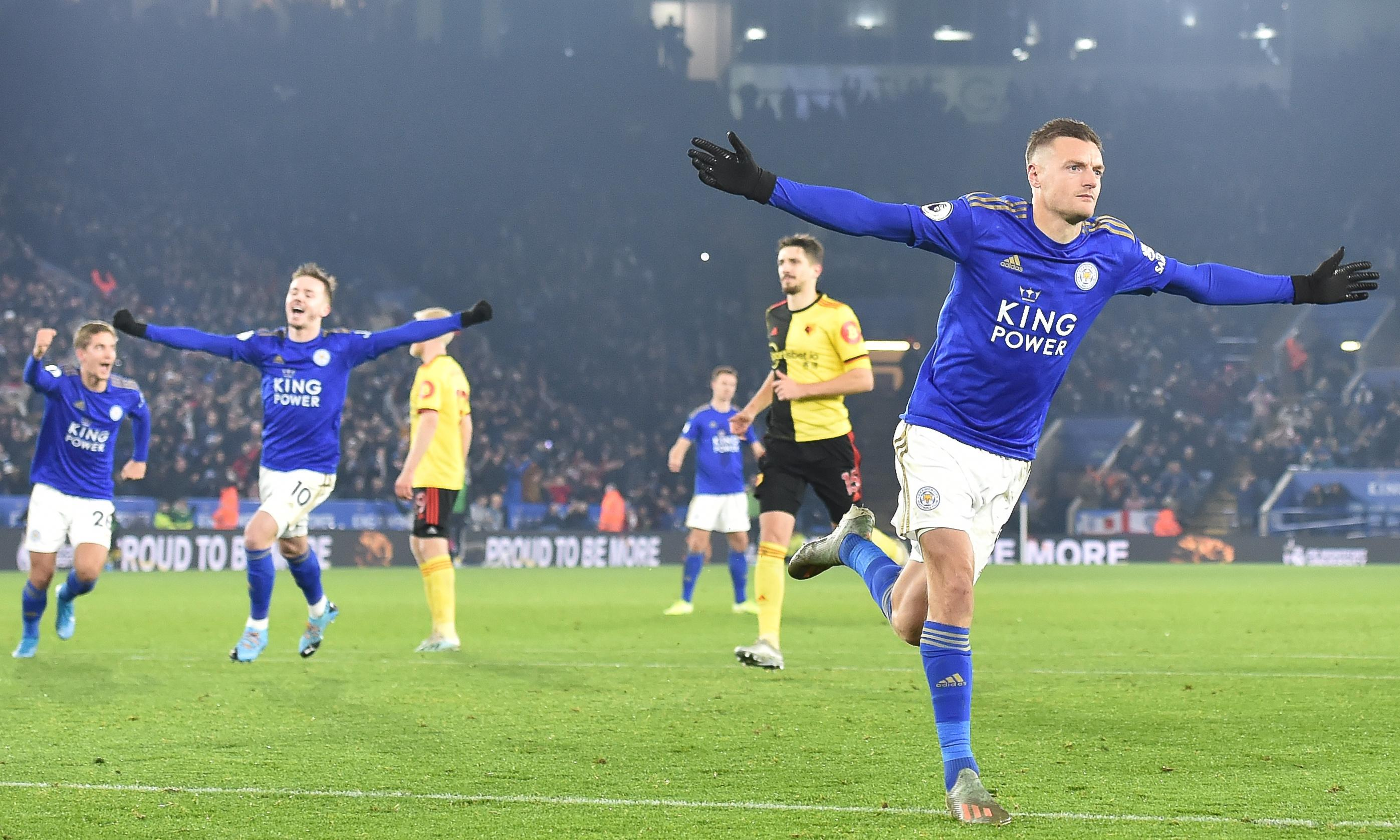 Jamie Vardy sets Leicester on their way to win over managerless Watford