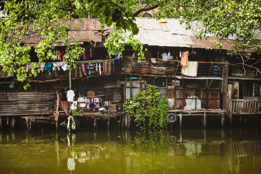 Riverside dwellings on Chao Phraya river