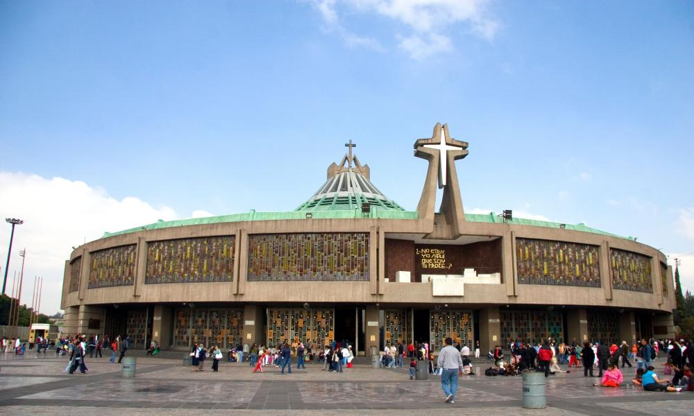 The modern Basilica of Guadalupe, built between 1974 and 1976.