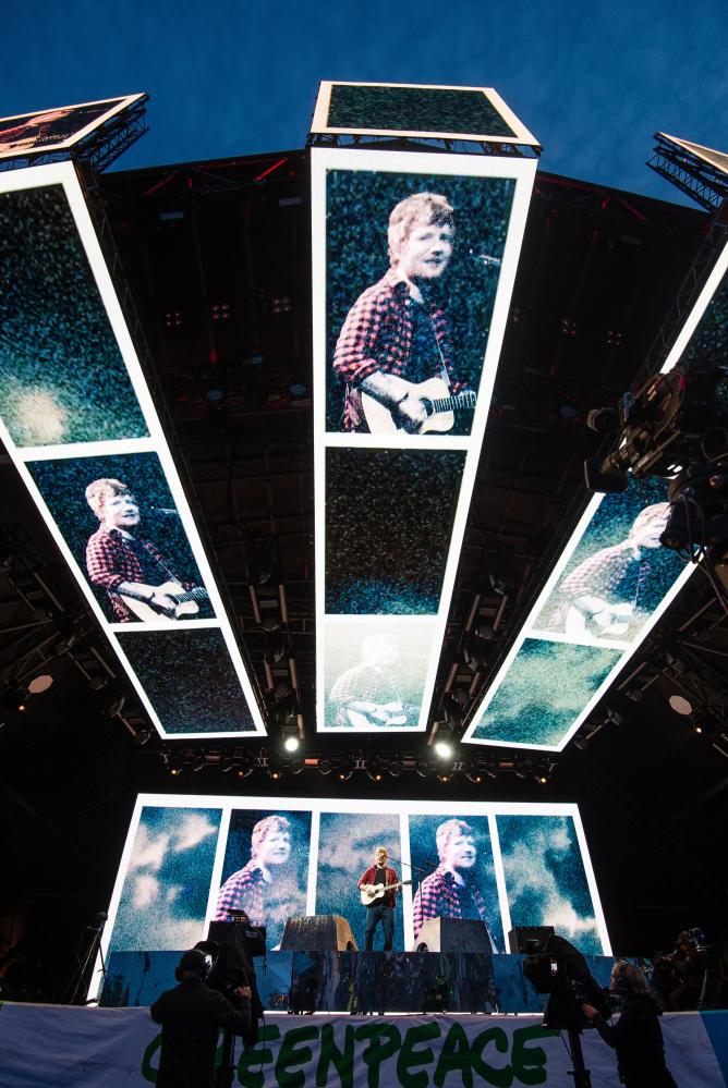 Stage effects dwarf Ed Sheeran on the Pyramid stage at Glastonbury