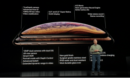 A spec-heavy slide from the Apple event.