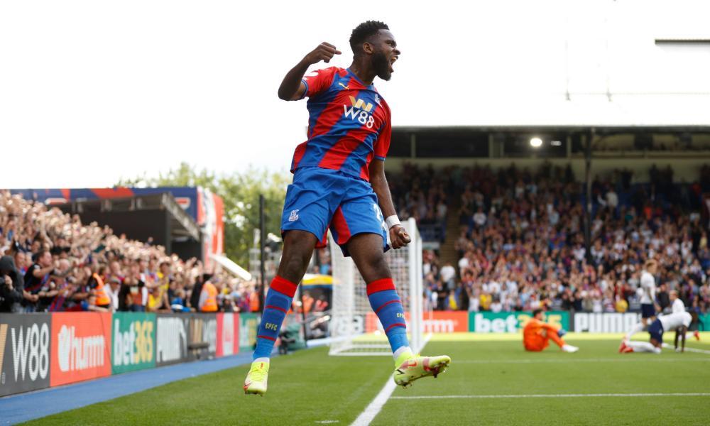 Crystal Palace's Odsonne Edouard celebrates scoring their third goal.
