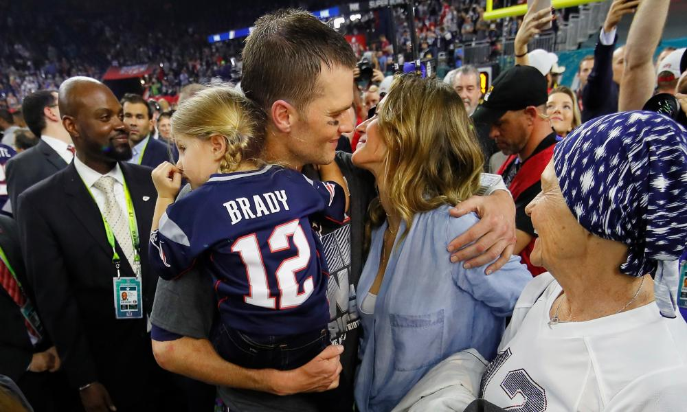 Take me out to the ball game: Gisele with her husband Tom Brady of the New England Patriots, victors in Super Bowl 51, 5 February 2017, Houston, Texas.