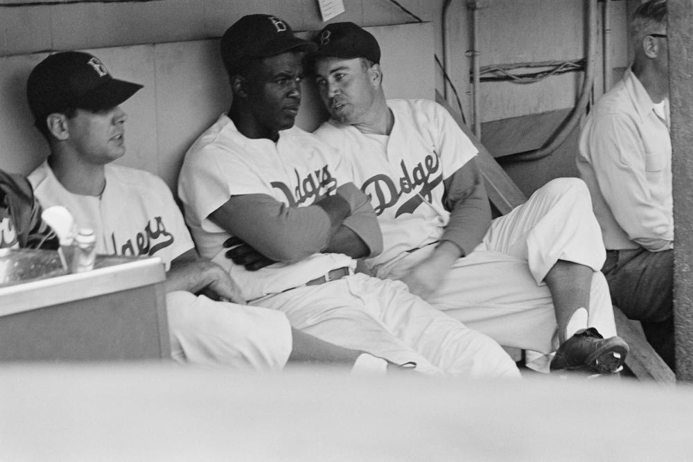 Jackie Robinson and Duke Snider in conversation