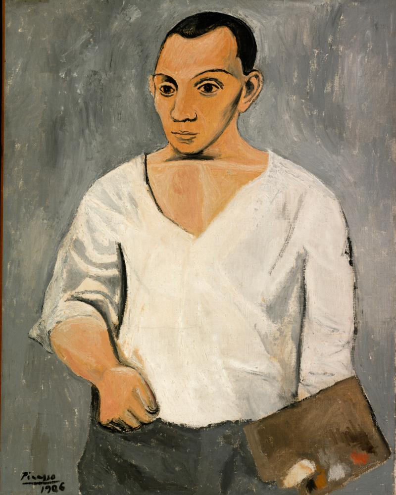 Self-Portrait with Palette by Pablo Picasso, 1906.