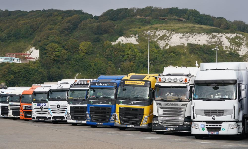 European lorries parked in Dover, last month.
