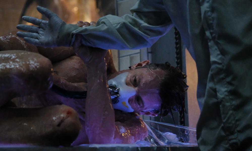 Joel Kinnaman as Takeshi Kovacs waking up in a new body, or sleeve.