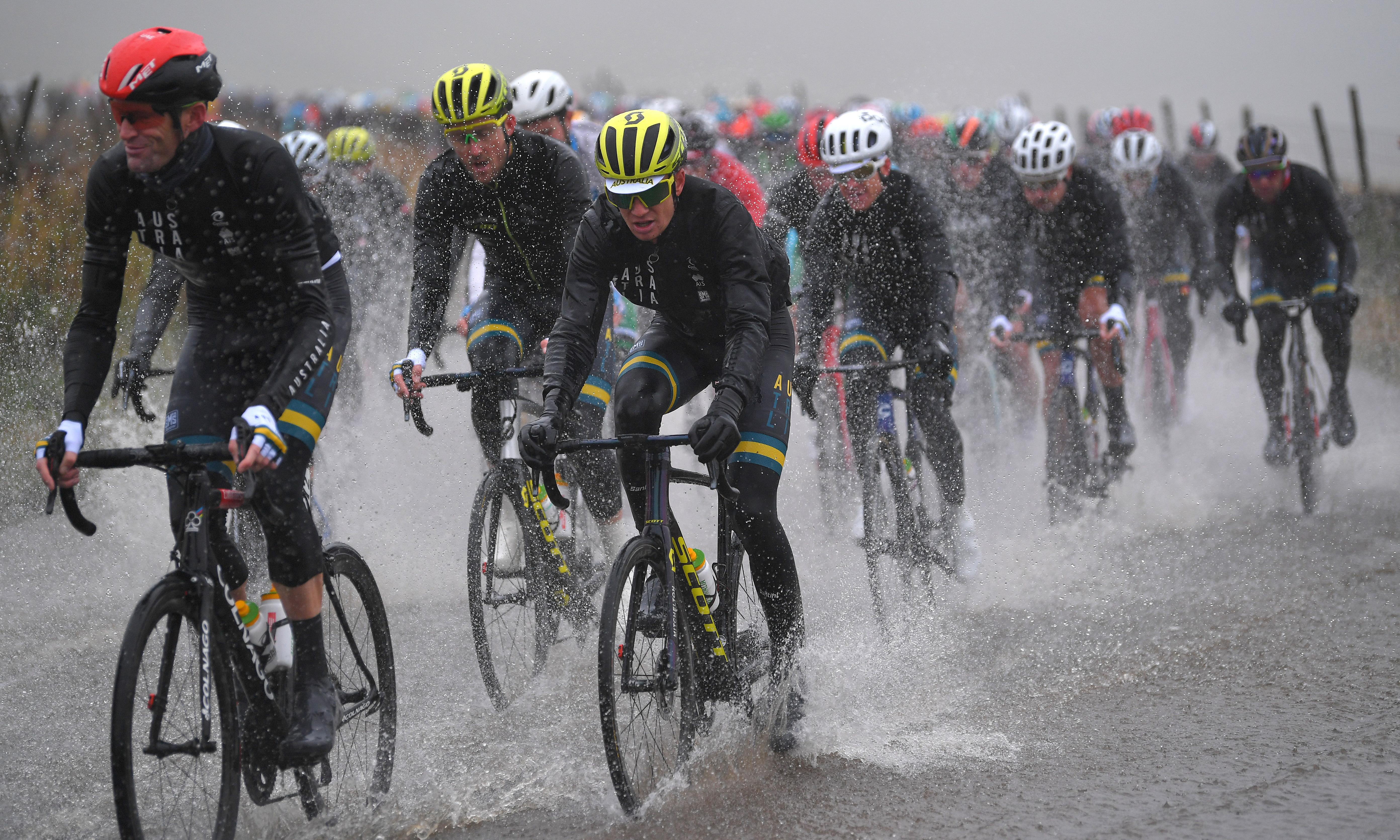 'Like riding into a lake': world cycle champions saturated in Yorkshire