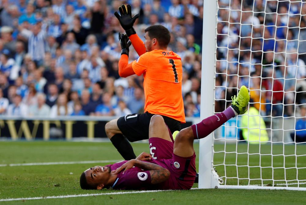 Gabriel Jesus sustains an injury as he put the ball into the back of the net.