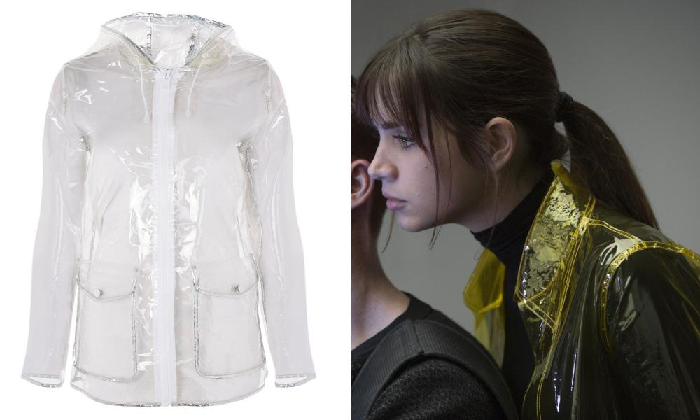 Plastic mac, £39, topshop.com, and Ana de Armas as Joi in Blade Runner 2049.