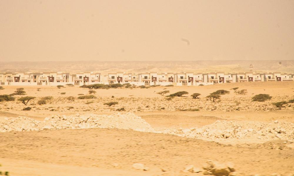 "Duqm's empty ""Bedouin Town"" – a section of the city built for the 3,000 fishermen and semi-nomadic herders who called this place home before the bulldozers moved in."