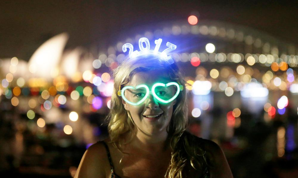 Charlotte Kent wears glowing glasses and a headset for 2017 in Sydney.