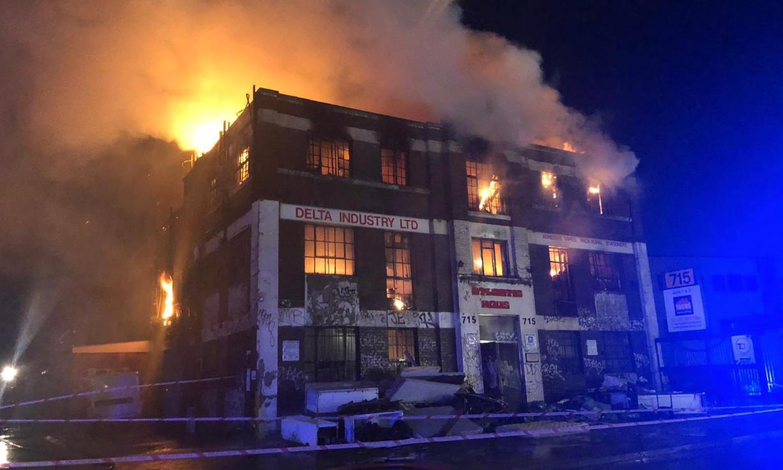 London warehouse fire: rush-hour warning after North Circular closed
