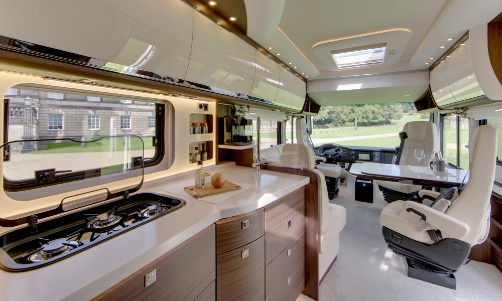 Luxury on wheels: the Morelo's cab and kitchen.