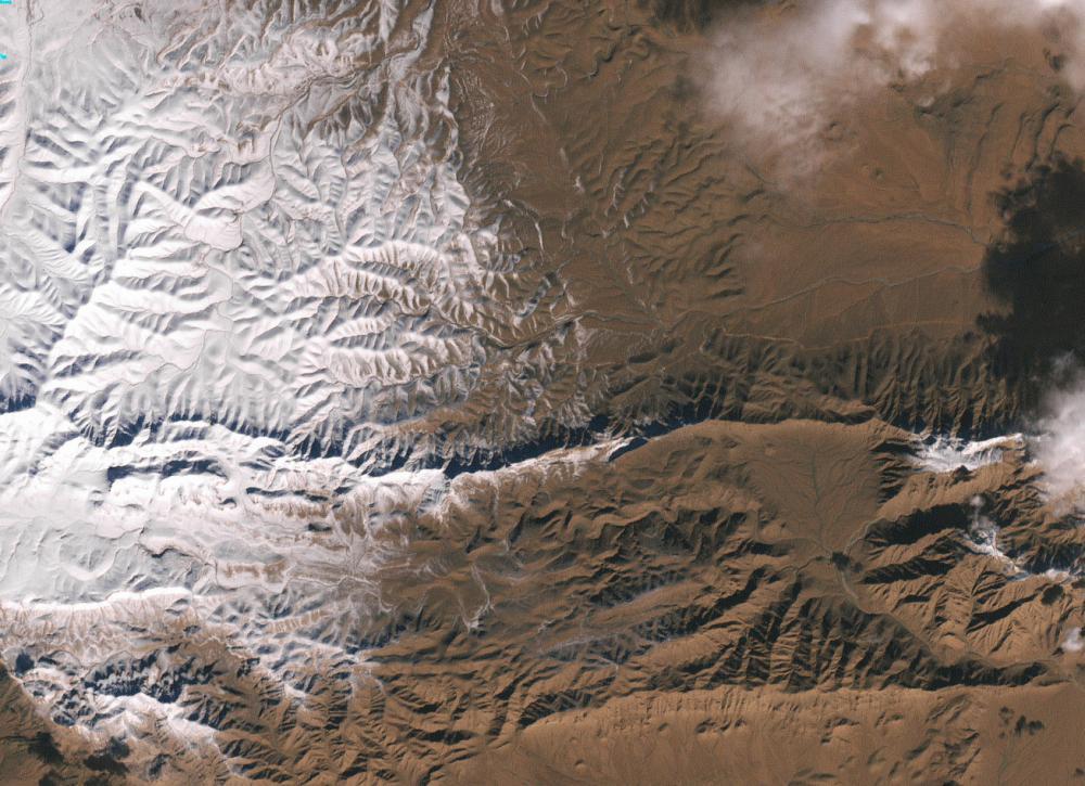 Snow fall on the Algerian town of Aïn Séfra