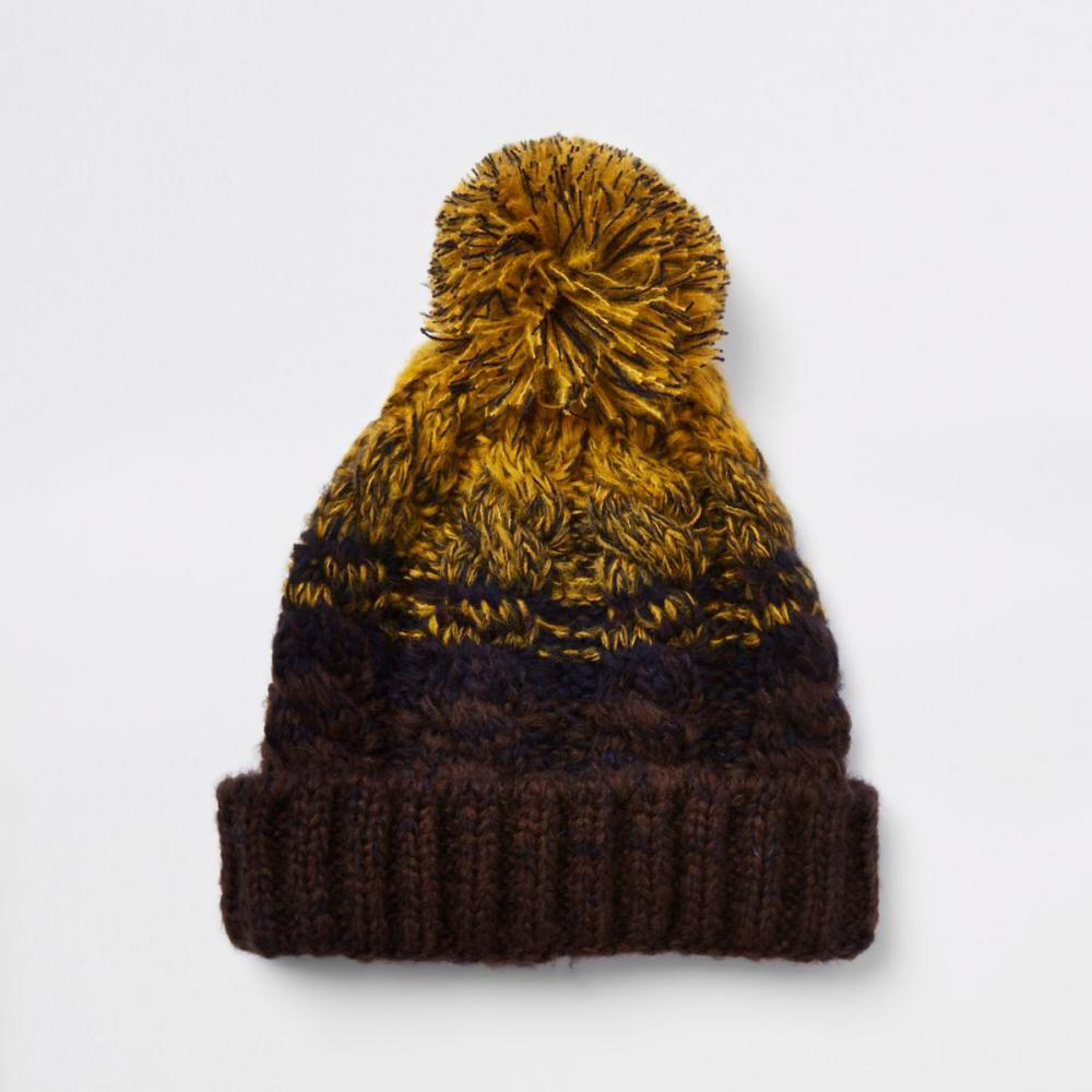 Mustard yellow cable-knit bobble beanie hat, River Island, £12.