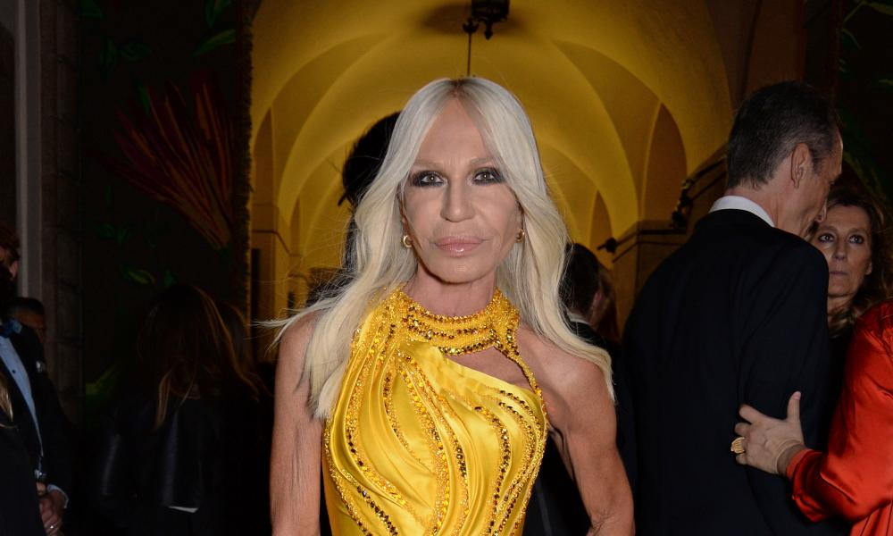 Donatella Versace attends a fashion awards ceremony in Milan on Sunday.