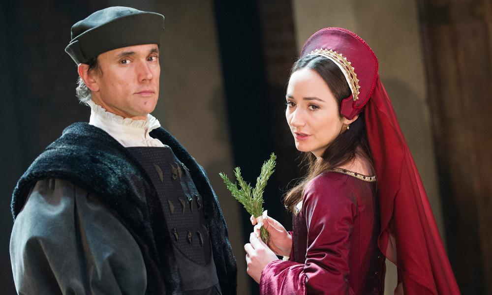 Ben Miles as Thomas Cromwell with Lydia Leonard as Anne Boleyn in Wolf Hall.