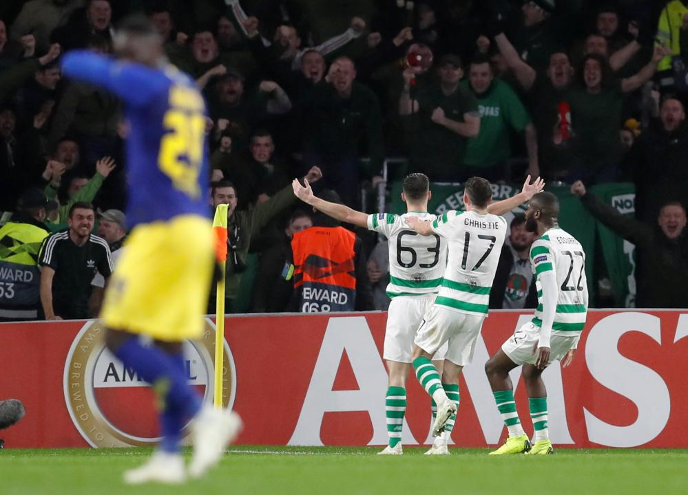 Tierney celebrates scoring the opener in front of his fans.