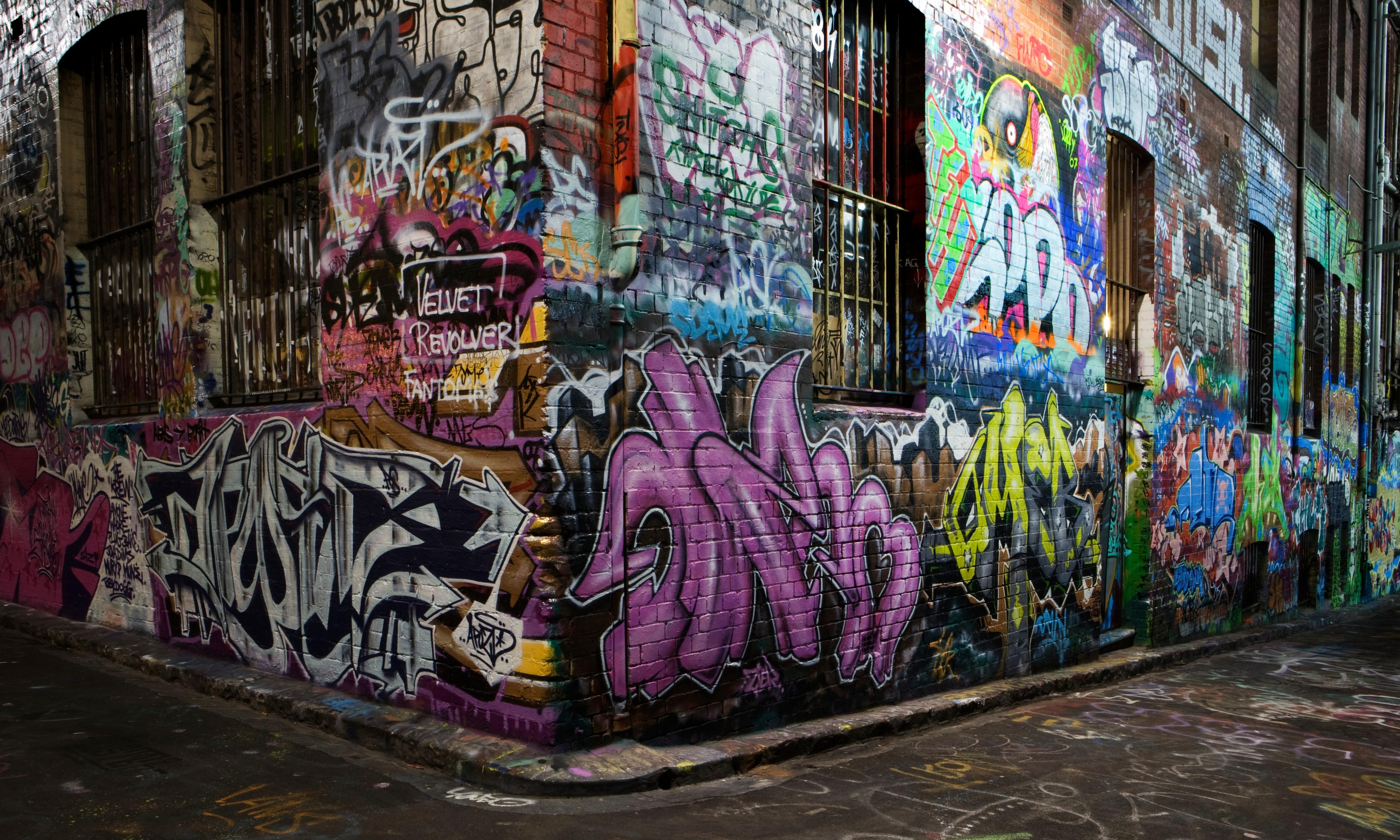 Guerrilla painters in Melbourne's Hosier Lane expose our hypocritical ideas about street art