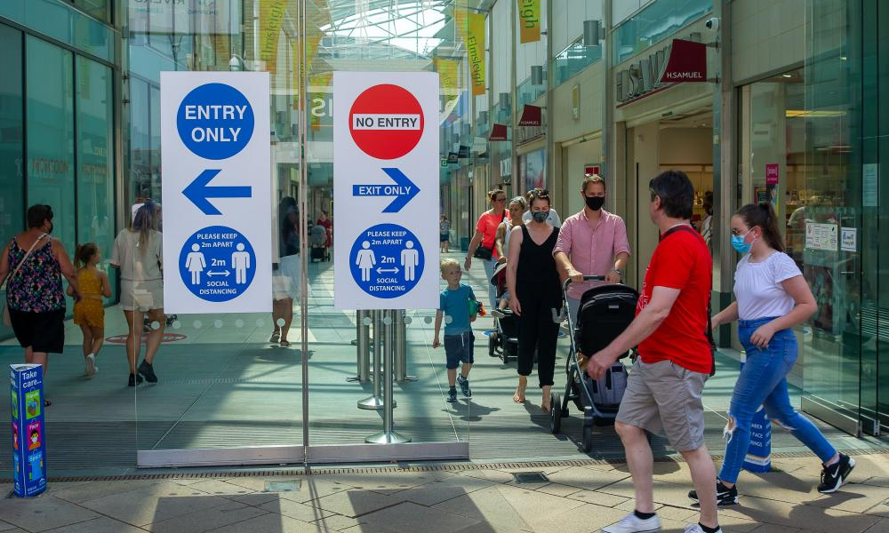 Shoppers in Staines-upon-Thames in July
