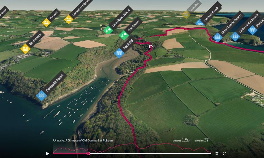 Screenshot of an AA walk from OS Maps app.