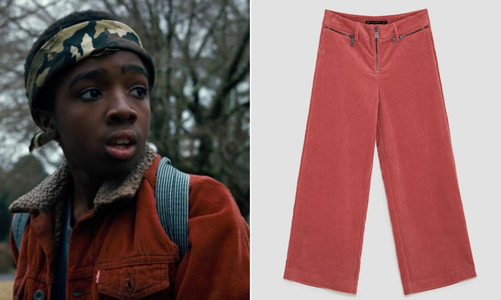 Caleb McLaughlin as Lucas in Stranger Things, and corduroy trousers, £25.99, zara.com.