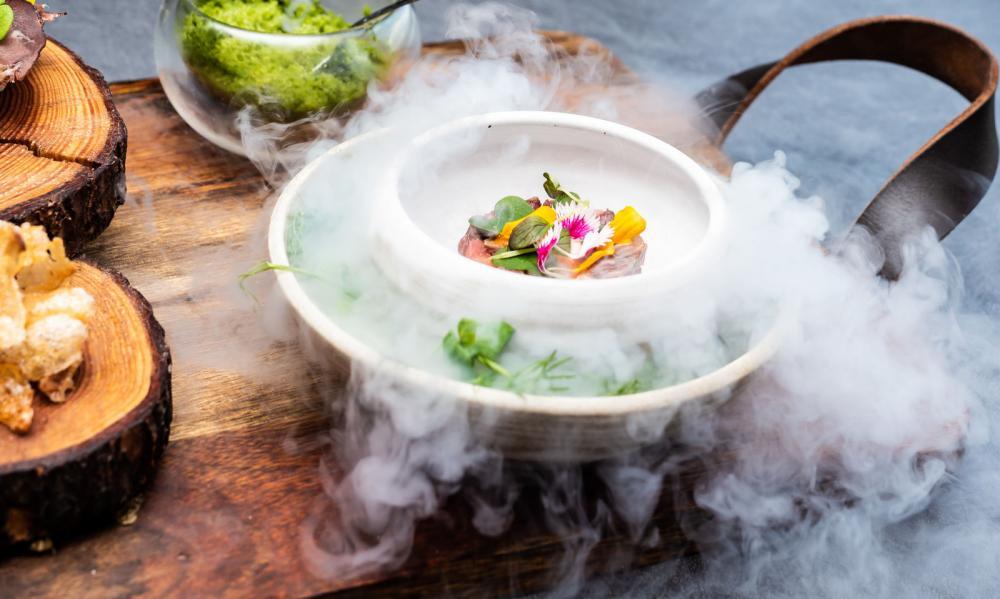 Newport restaurant/hotel dish with dry ice
