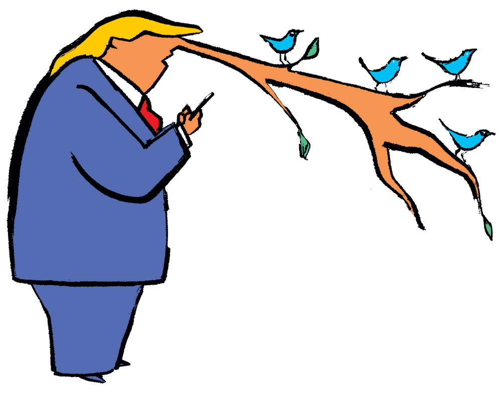Graphic of Trump's nose growing as long as a tree branch