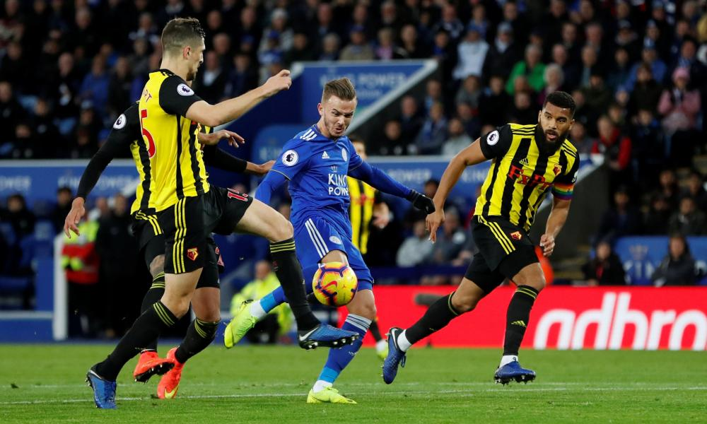 James Maddison volleys in the second for Leicester City.