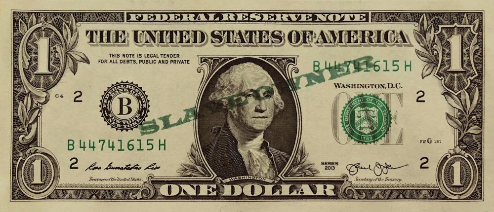 David C. Terry - Slave Owner, Stamp on dollar bill, 2019