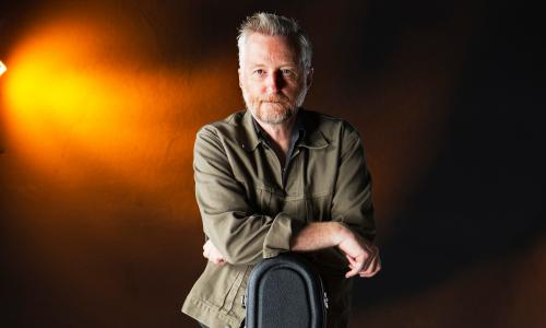 Singer and songwriter Billy Bragg seen before speaking at the Edinburgh International Book Festival, Edinburgh, Scotland.