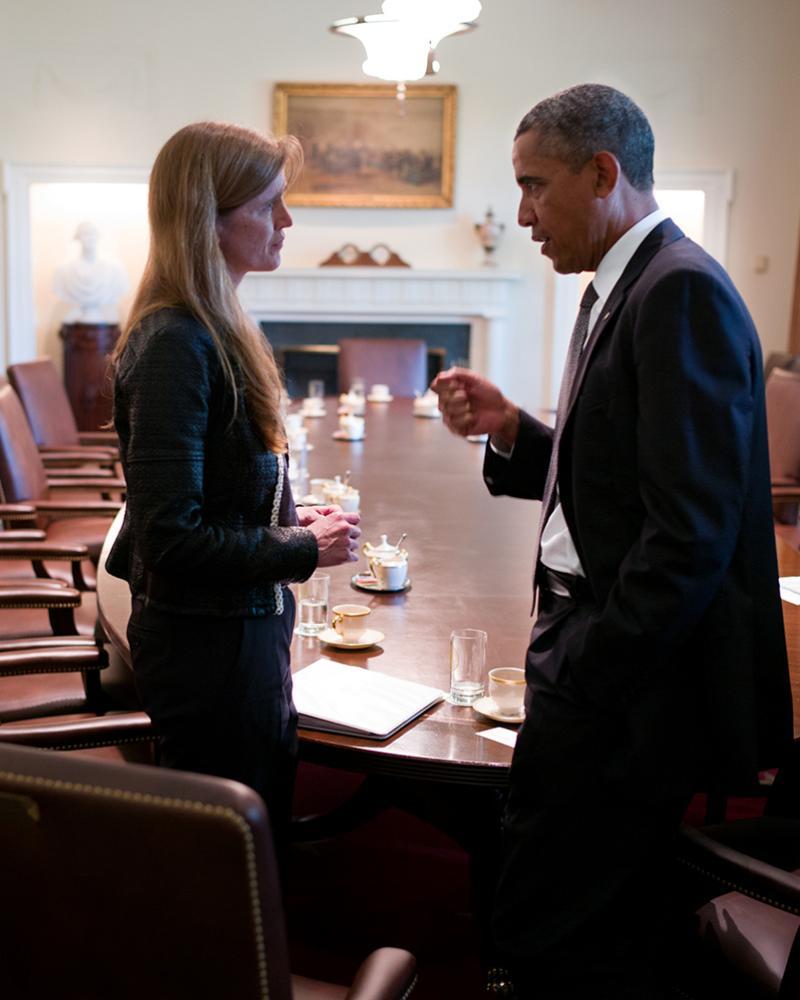 Obama and Samantha Power, US ambassador to the UN.