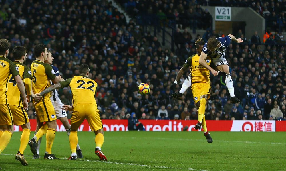 West Brom's Craig Dawson scores his side's second goal.