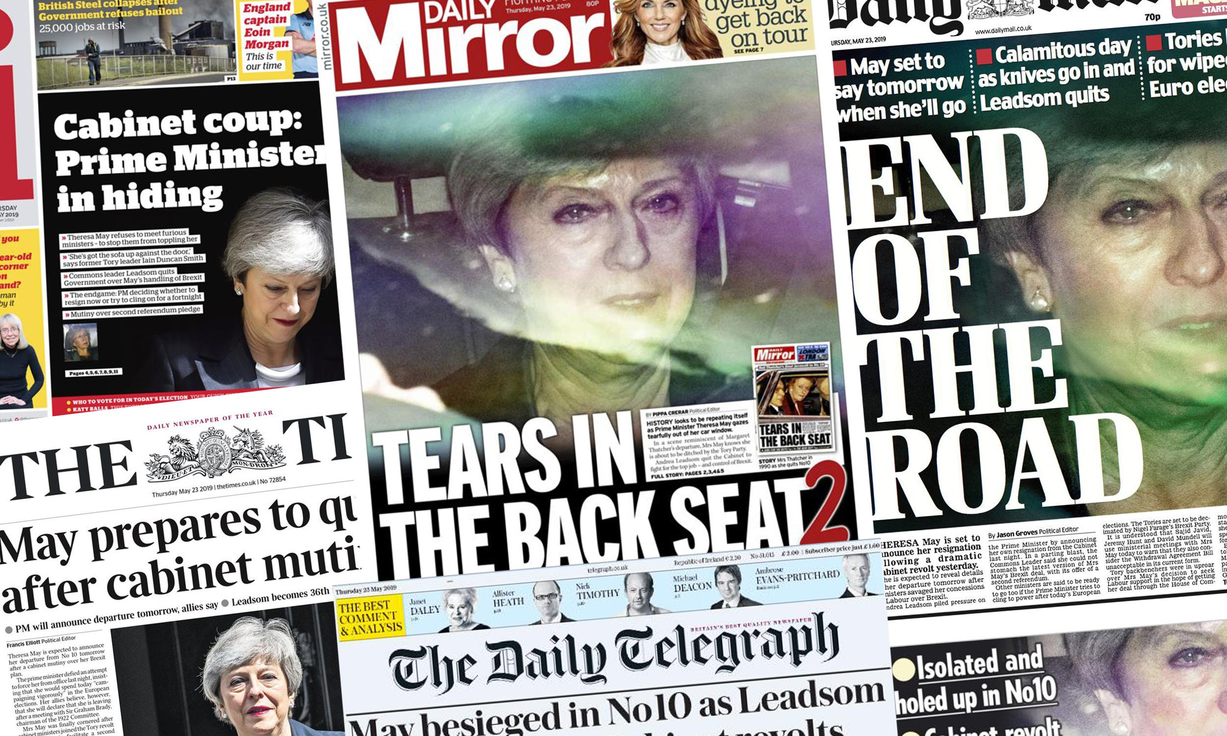 'End of the road': what the papers say as pressure builds on Theresa May