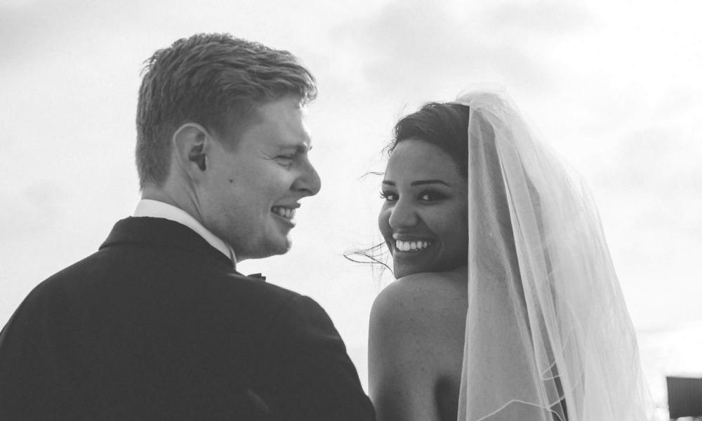 TV presenter Elle Osili-Wood and her Australian husband.