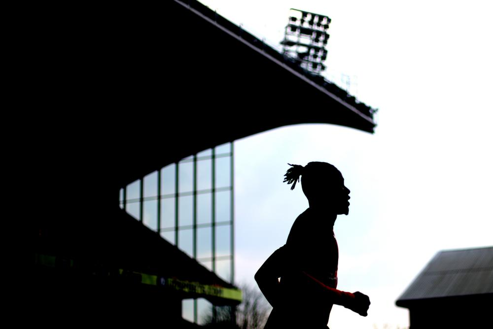 March 30: Wilfred Zaha of Crystal Palace warms up ahead of the Premier League match between Crystal Palace and Huddersfield Town at Selhurst Park.
